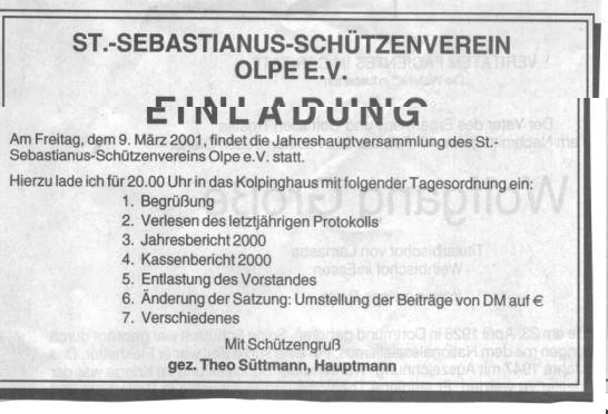 einladung 2001 jahreshauptversammlung schützenverein olpe und, Einladung